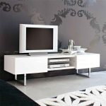 modern white idea for tv stand with storage and four stainless steel beams beneath patterned gray wall on white flooring style