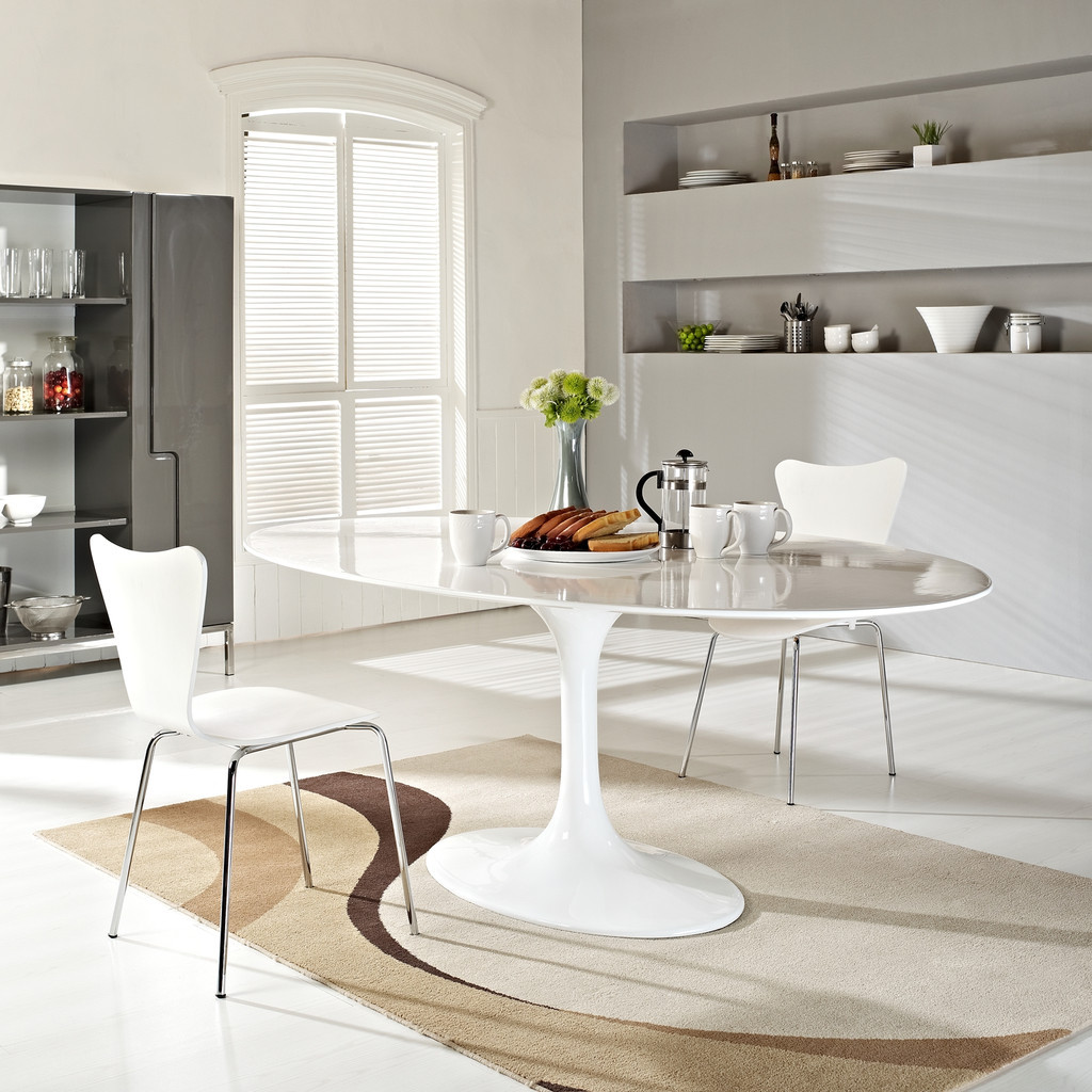 Modern White Sleek Small Oval Dining Table With Metal Frame Decorative Flower Clean