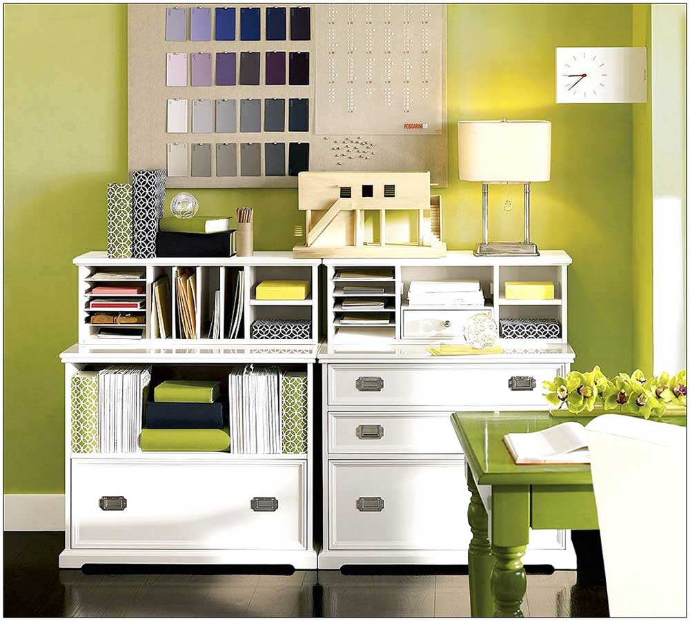 modern white wooden decorative file cabinets with lime green room tone  unique wall clock white table. Office Room Improvement with Decorative File Cabinets   HomesFeed