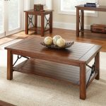 modern wooden high end coffee tables in rectangular shape with rack under the table plus decorative objects on the top of table for focal point plus sisal rug and wooden side table