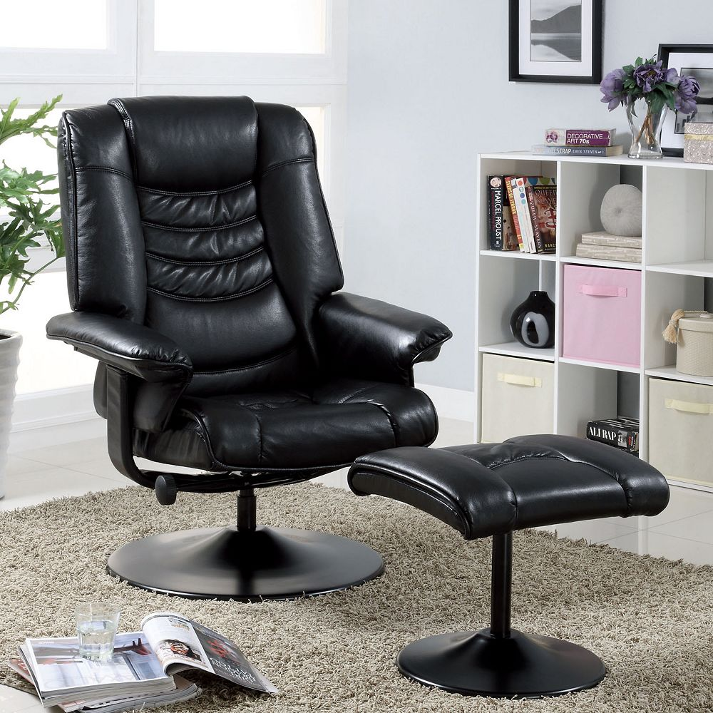 Most Comfortable Recliner In Black And Modern Design Combined With Black  Ottoman And Soft Rug And
