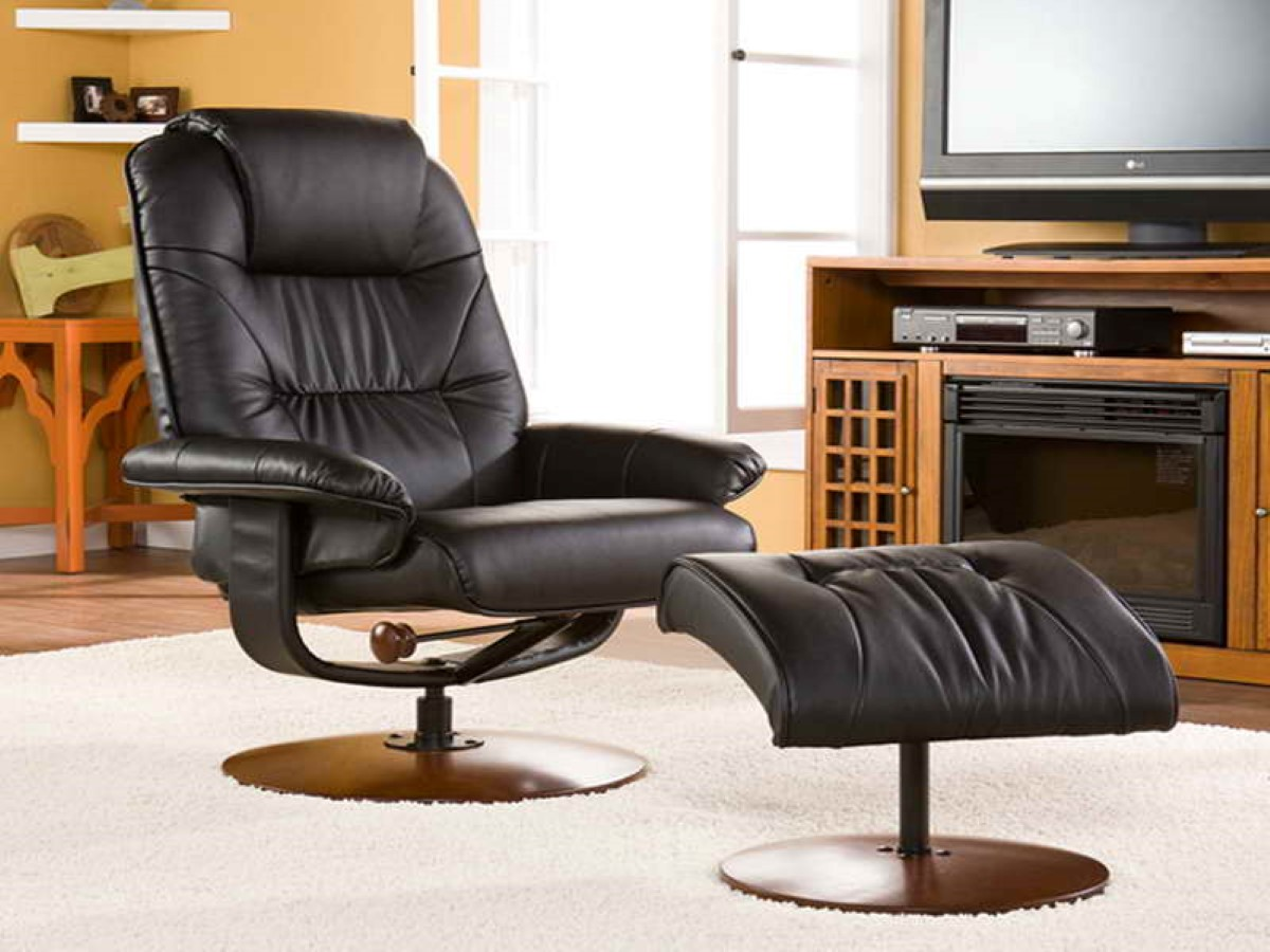 Most Comfortable Recliner With Comfy And Adjustable Design Plus Ottoman  Together With Wooden Tv Stand For