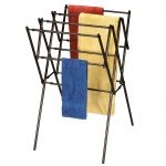 multiple metal ikea clothes drying rack design with four beams with blue yellow red and blue towels