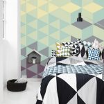 mural bedroom bed bedcover pillows
