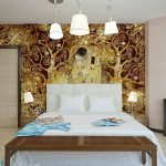 mural lamp bed bedroom pillows mirror table