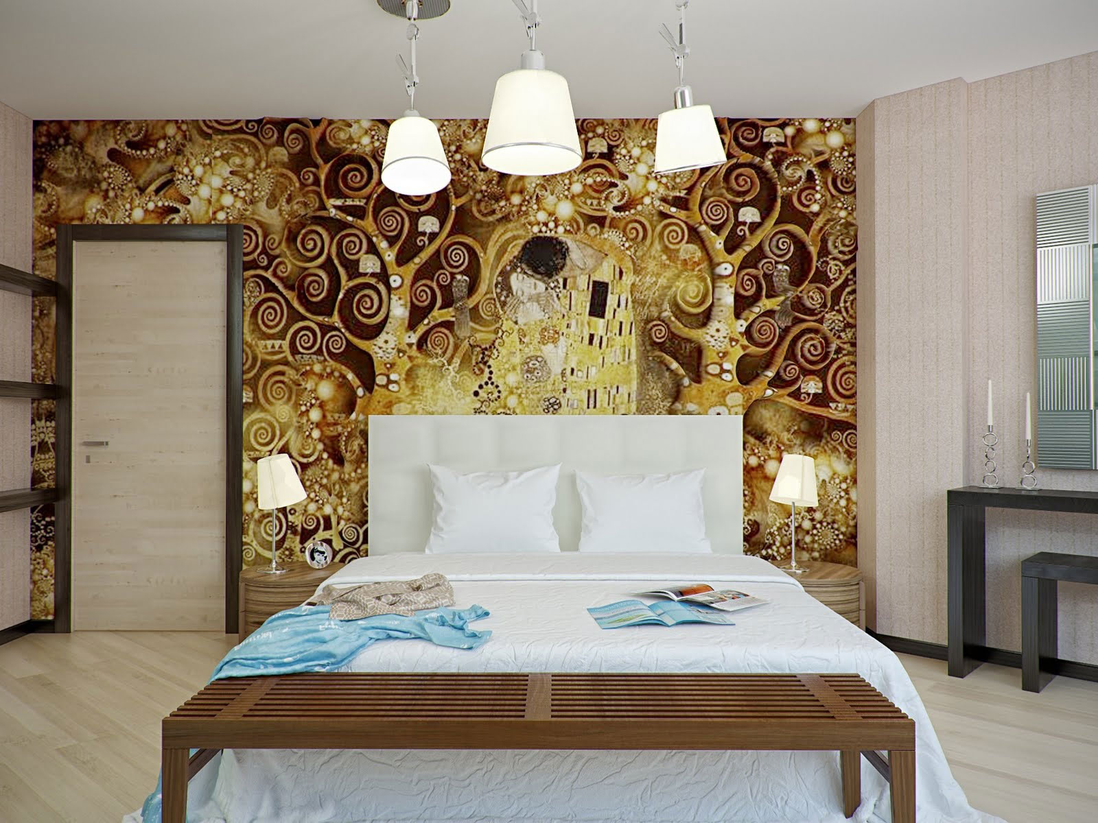 Mural Lamp Bed Bedroom Pillows Mirror Table Part 43