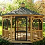 natural beige black wood gazebo kits with low secreen walls and door