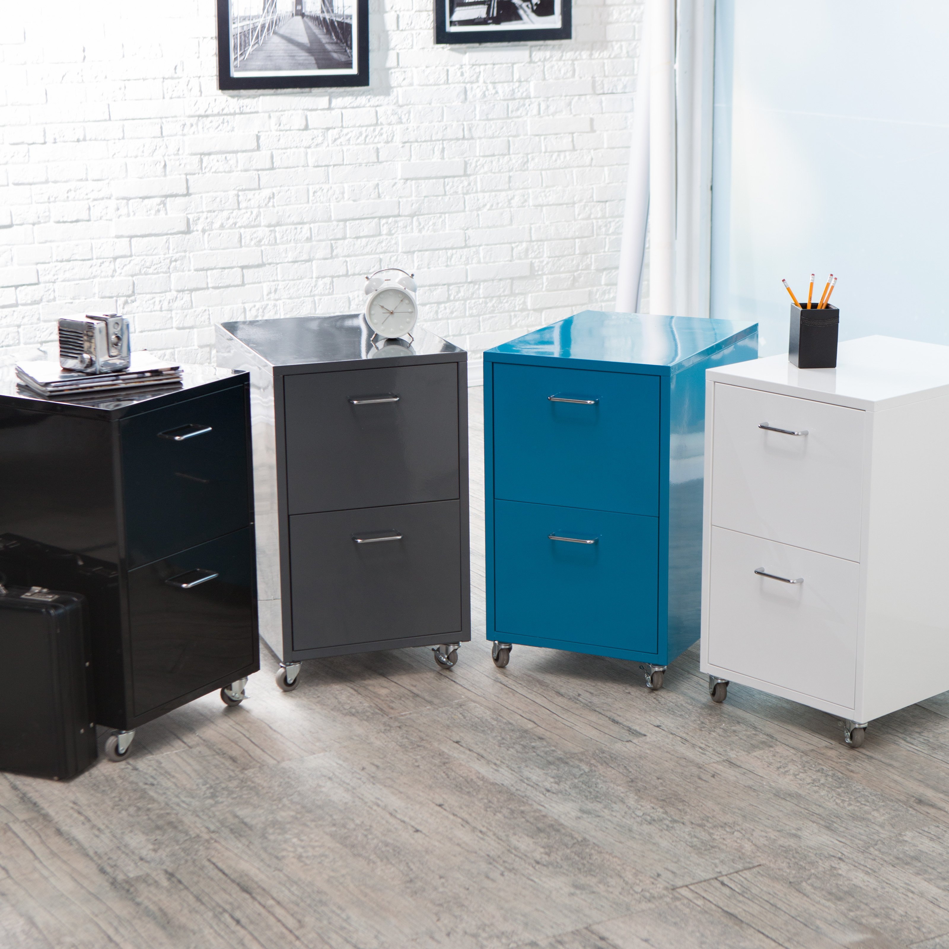 Natural Colors Stylish Filing Cabinets With Casters White Bricks Wall Gray Wooden Floor Simple Small