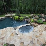 natural travertine pavers pool deck natural limestone unique small swimming pool green landscape natural stone piles