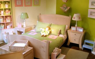 natural wooden twin headboard for lime green tone girly bedroom lime green bedding beige flower table lamp decorative dolls and wall frames