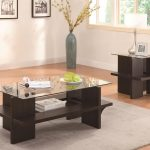 nice cocktail table sets with wooden leg in dark brown finishing combined with glass top and rug plus square end table decorated with frame and vase