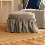 cute ottoman slip covers decorated with single armchair plus brown rug and blue navy cushion