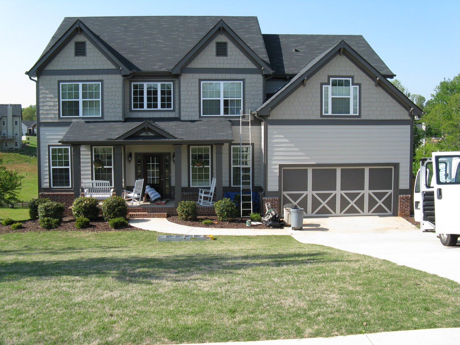 Garage Door Paint Designs - Outdoor house paint color idea windows garage door grass park garage door paint designs
