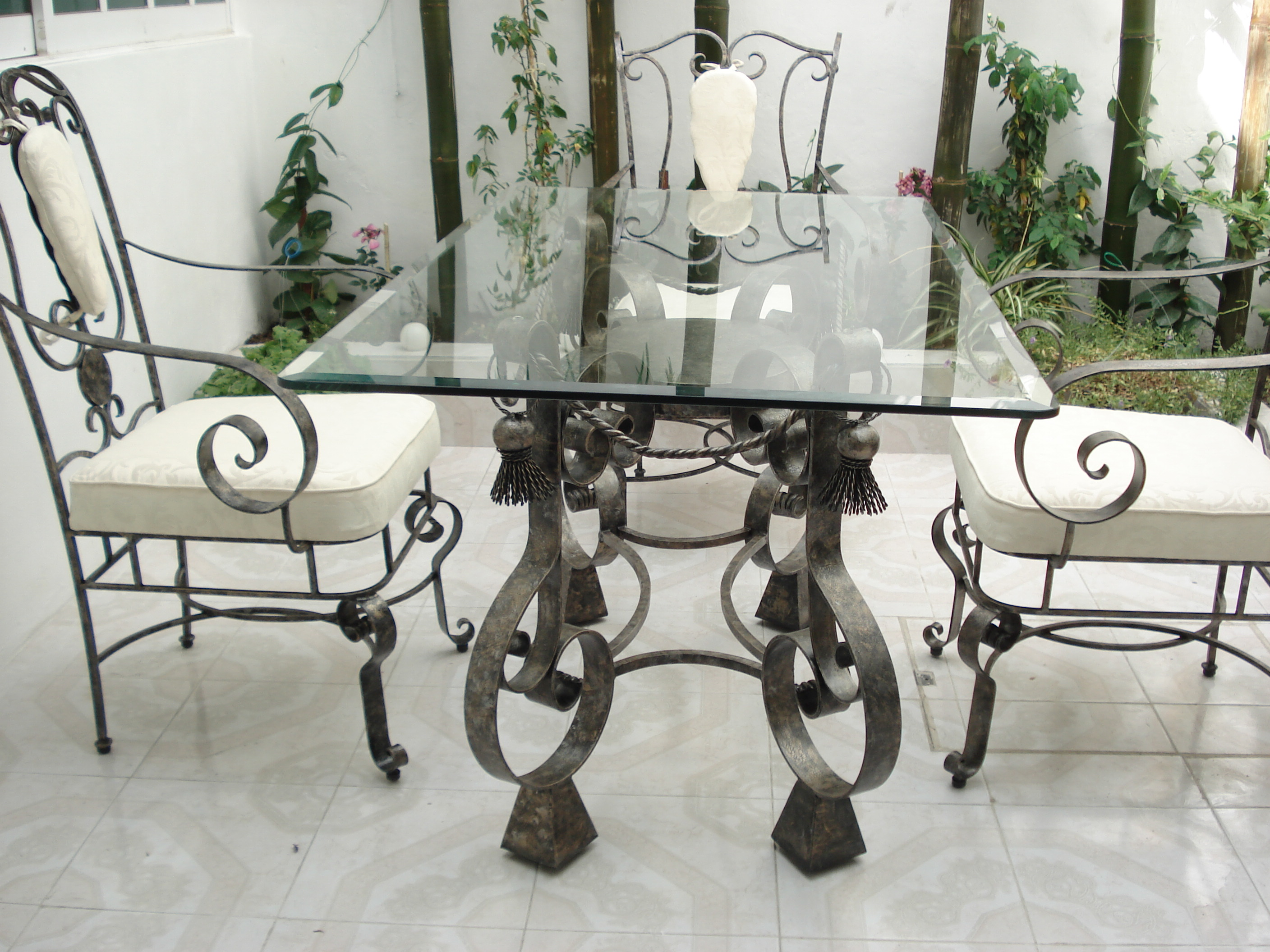 Delightful Rod Iron Table And Chairs Part - 7: Outdoor Wrought Iron Kitchen Table With Rectangular Glass Top And Stylish  Chairs With Wrought Iron And