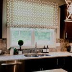 Outside Mount Roman Shades For Clean Modern Kitchen With Granite Countertop Decorative Plants And Fruit