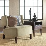 Plain Comfortbale Accent Chair For Living Room Natural Soft Color Accent Chair Natural Color Rug Stripped Cushion Small Ethnic Statues Small Brown Polished Table