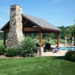pool pavilion fresh stone fireplace