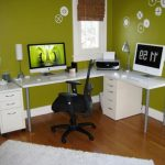 Pop Green White Simple Office Room Mid Back Black Office Chair White Furnitures Working Computers White Fur Rug Simple Table Lamp Small Printing Machine White Flower Vas Wood Floor