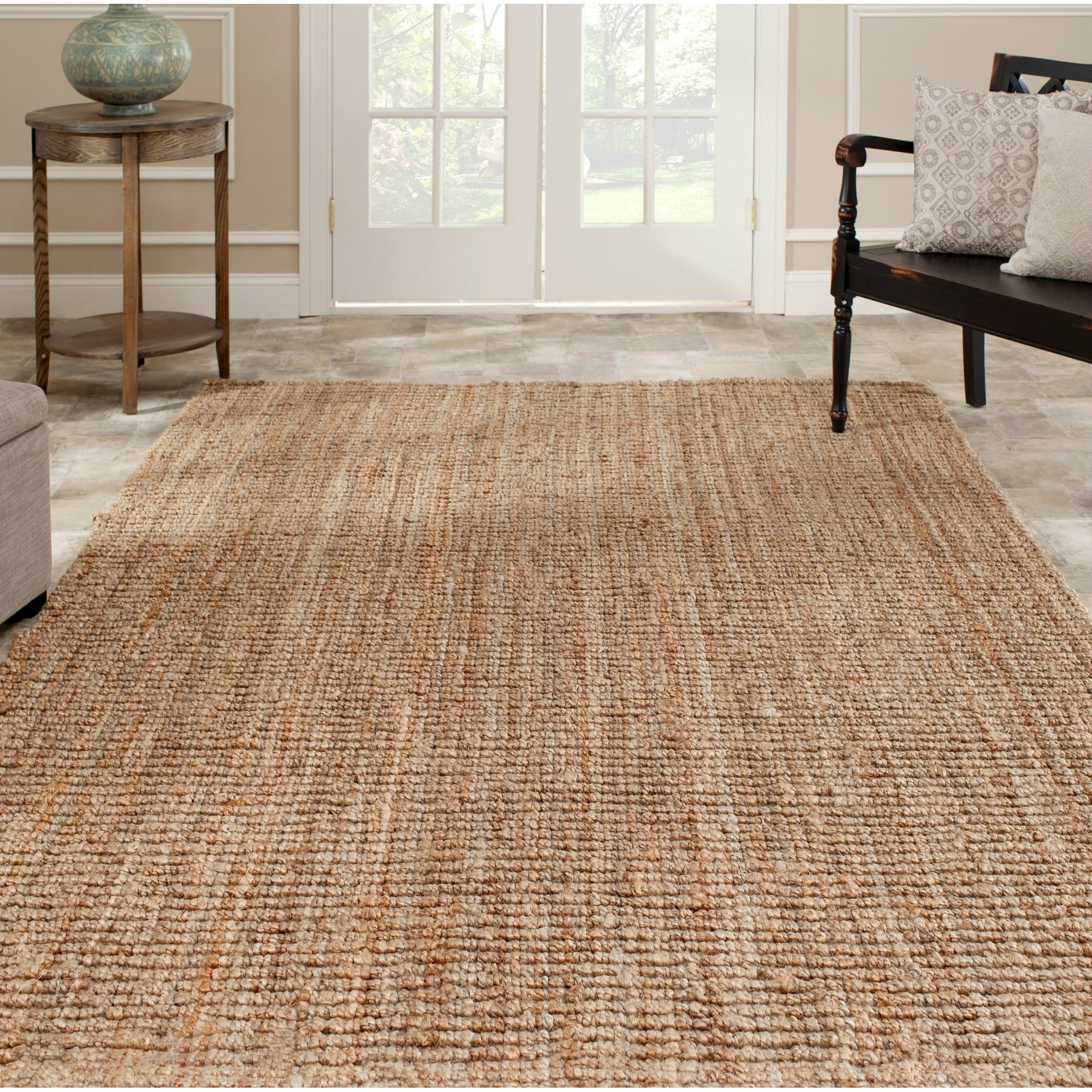 Rectangular Sisal Rug Ikea Natural Stone Floor Living Room Wooden Furniture Decorative Blue Vas