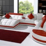 red white unique huge sectional sofa black white living room small red fur rug red cushions simple white standing lamp wooden bookshelves