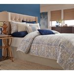 retro bedding idea by sunham home fashion with blue wall accent and tuft creamy headboard and slim rattan side table and white bedding
