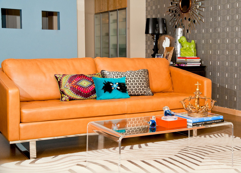 Retro Orange Room To Gos Sofa Design With Loveseat Design And Colorful  Cushions And Acrylic Coffee