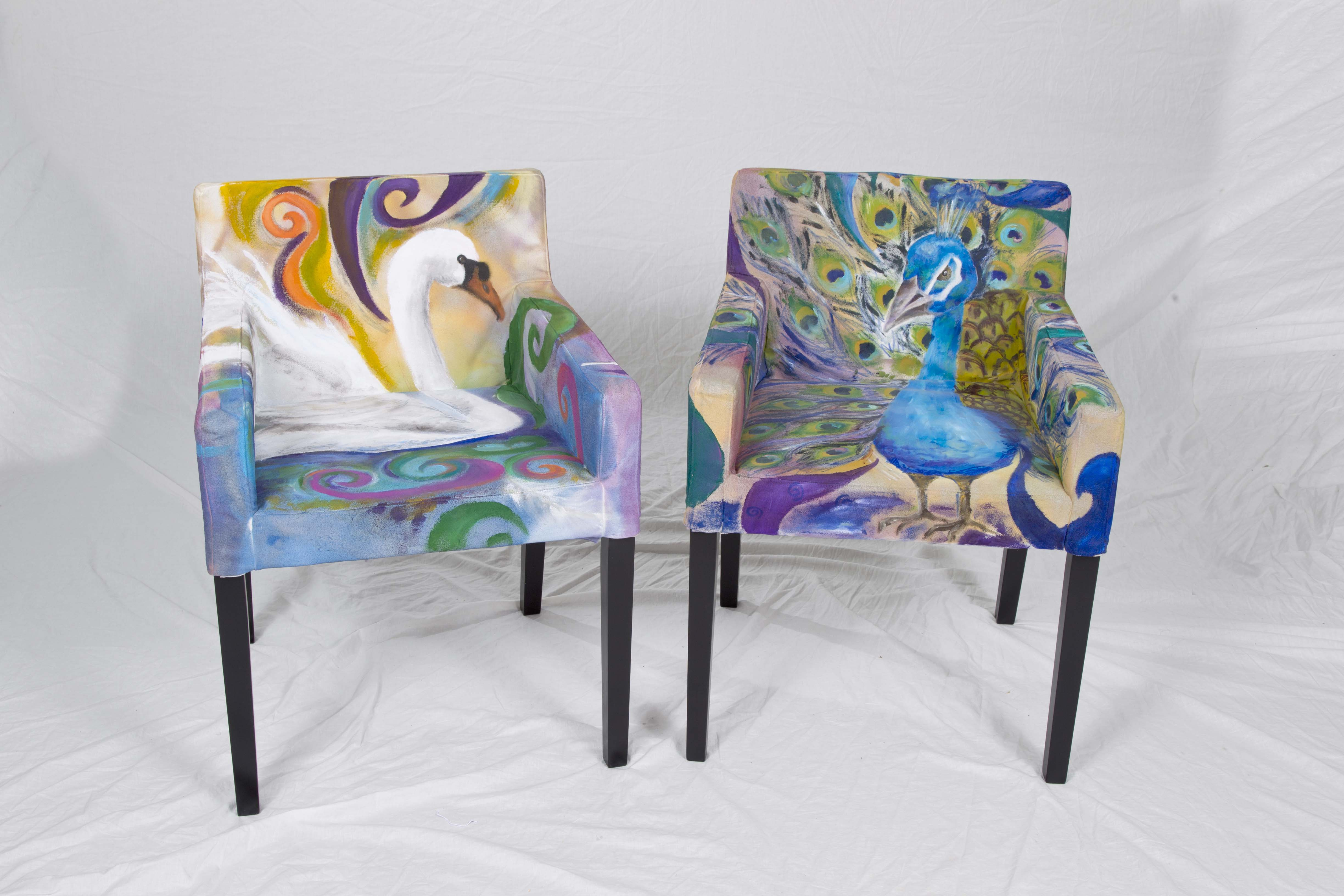 Painted fabric chairs - Retro Style Painting Fabric Furniture Idea On Two Armchairs With Blue Base Color With Unique Pattern