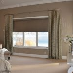 roller shades with motives drapery blackout blinds for bedroom soft brown floor white long table decorative flower small soft sofa flower wall painting