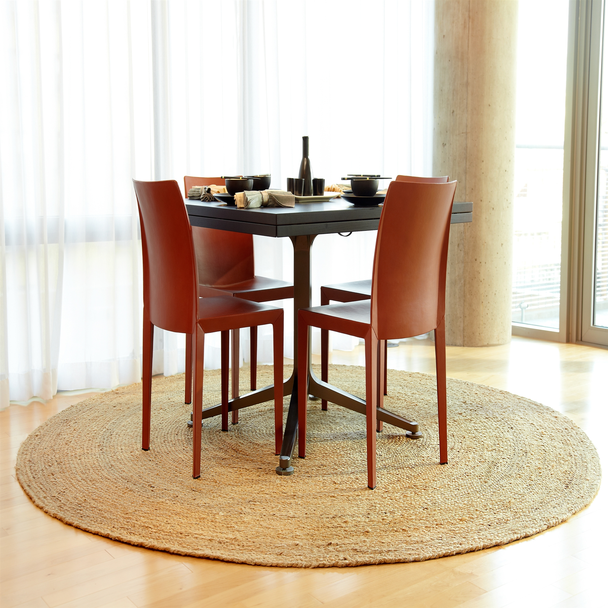 Round Jute Sisal Rug Ikea Small Dining Room Set Red Chairs Black Table