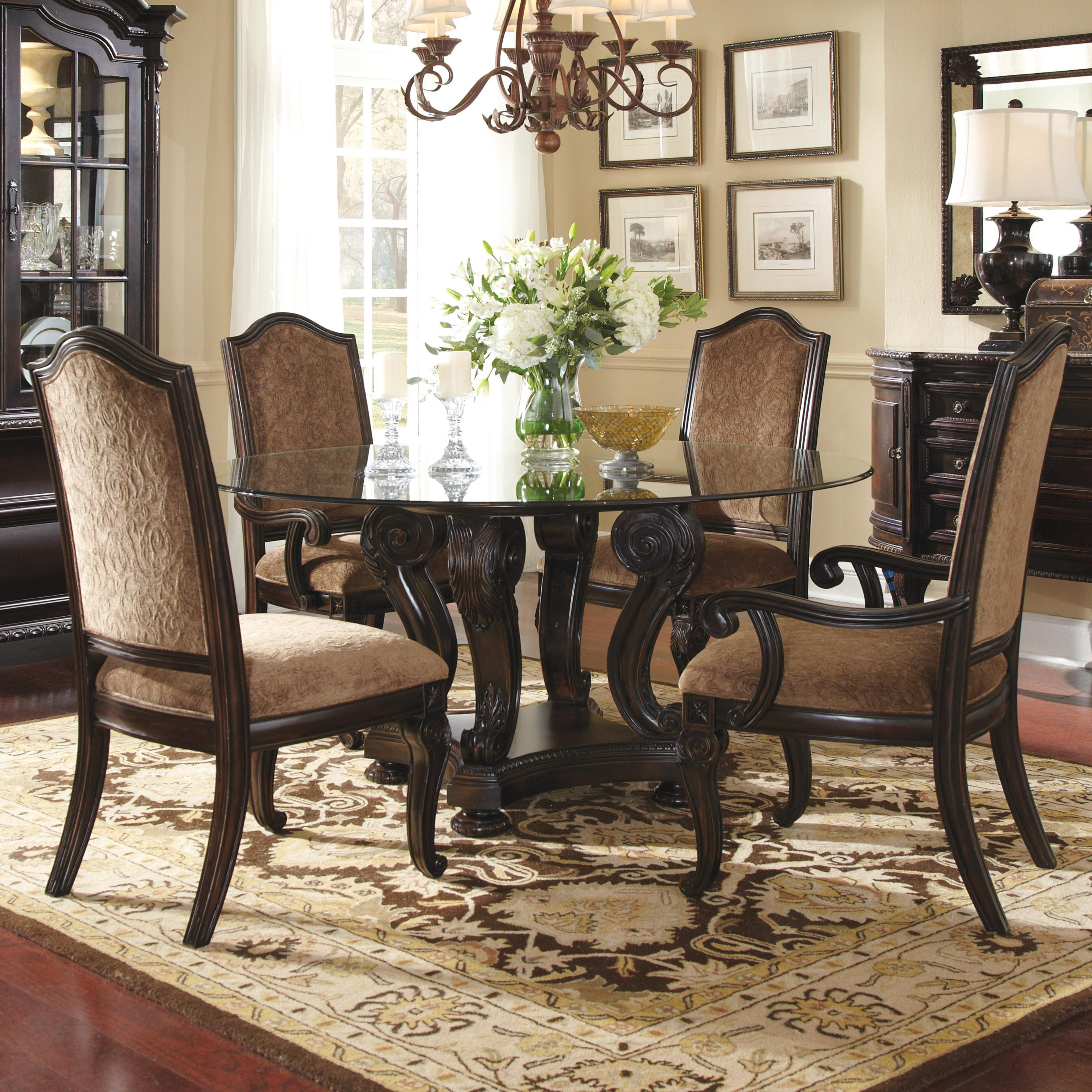 Round Table 4 Chairs Rug Flower Lamp Buffet