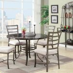 Round Wrought Iron Kitchen Table Decorated In Amazing Dining Room With Black Marble Top And Wrough Iron Shelf Plus Modern Rug Under The Table And Wood Floor