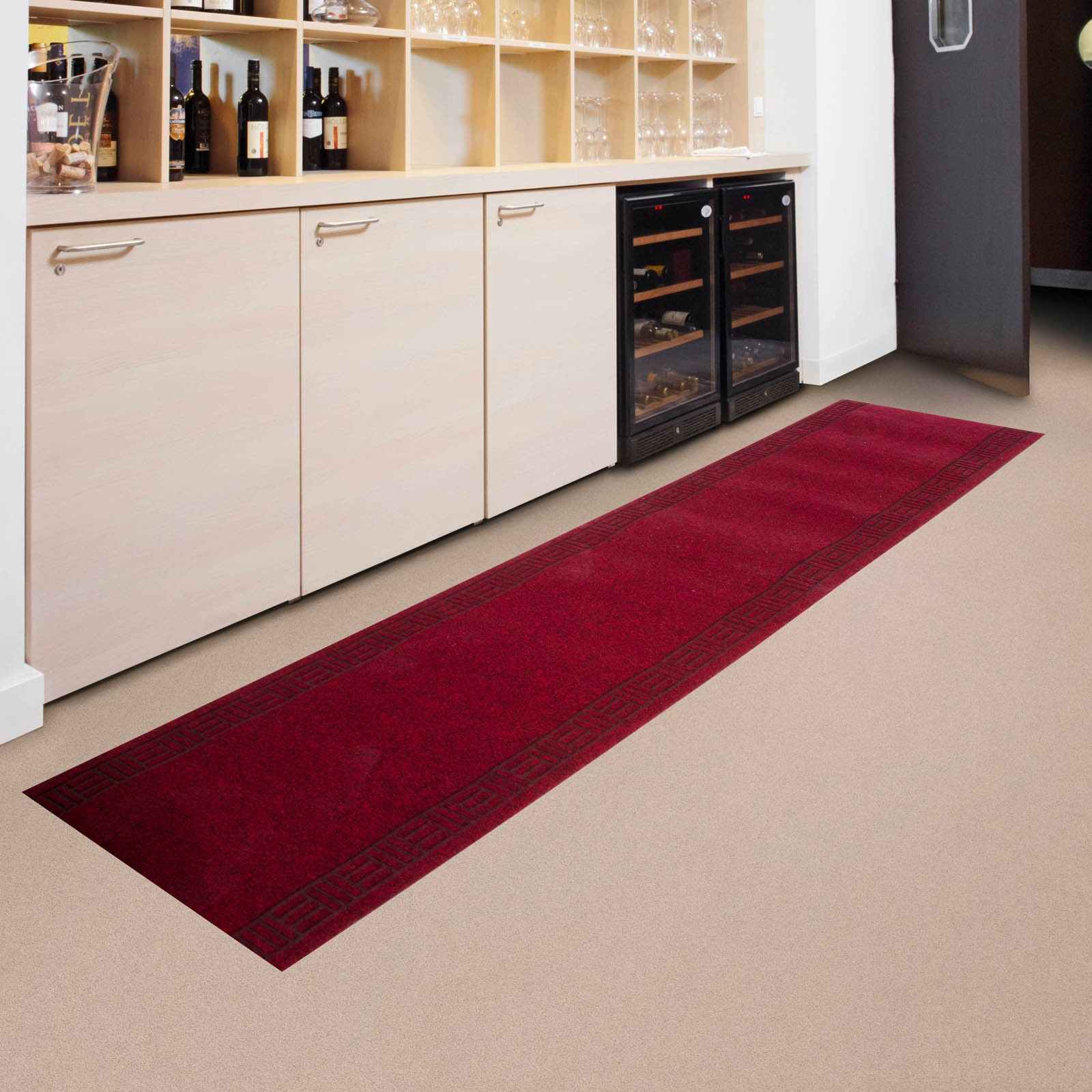 marvelous Kitchen Mat Rug #4: runner rug idea in red color for kitchen pantry