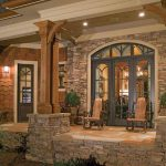 rustic stone home chairs windows