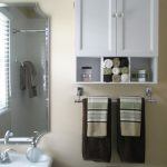 shelfs mirror sink towels