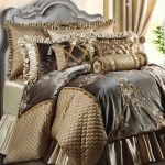 silver and golden bedding set with high end linens for classy bedroom ideas decorated with gray headboard plus comfy pillows and coverlet