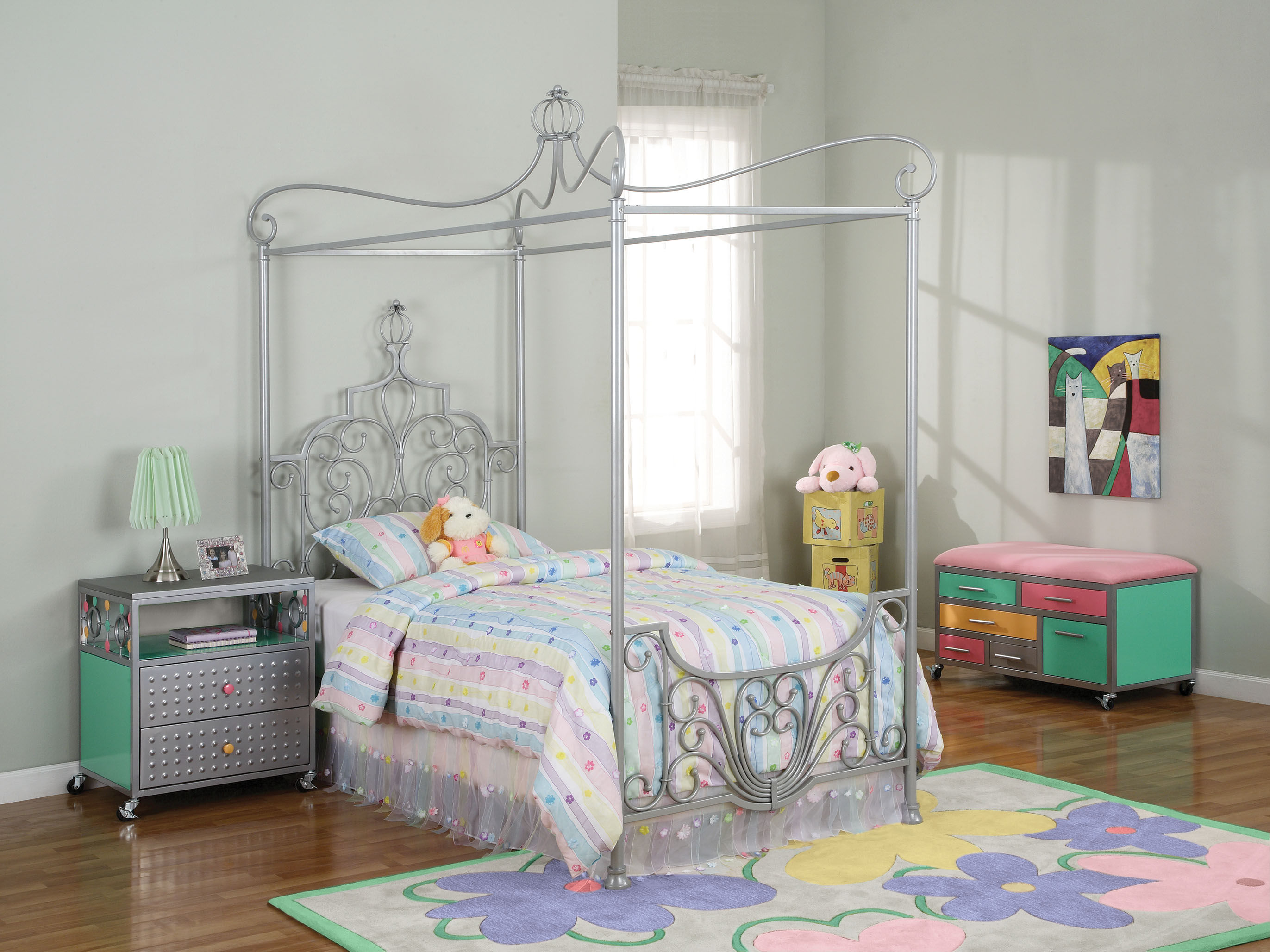 Silver Metal Canopy Bed Frame Pastel Color Cushion And Bedsheet Pastel  Color Furniture Decorative Dolls Princess