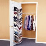simple and compact closet organizer for small closet idea with whiete wire hanger and door anging shoes racks
