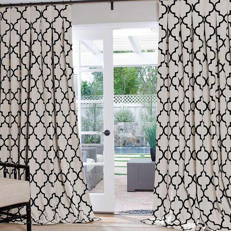 Simple And Minimalist Window Treatment White Patterned Curtains Installed On Glass Door In The Entrace Of