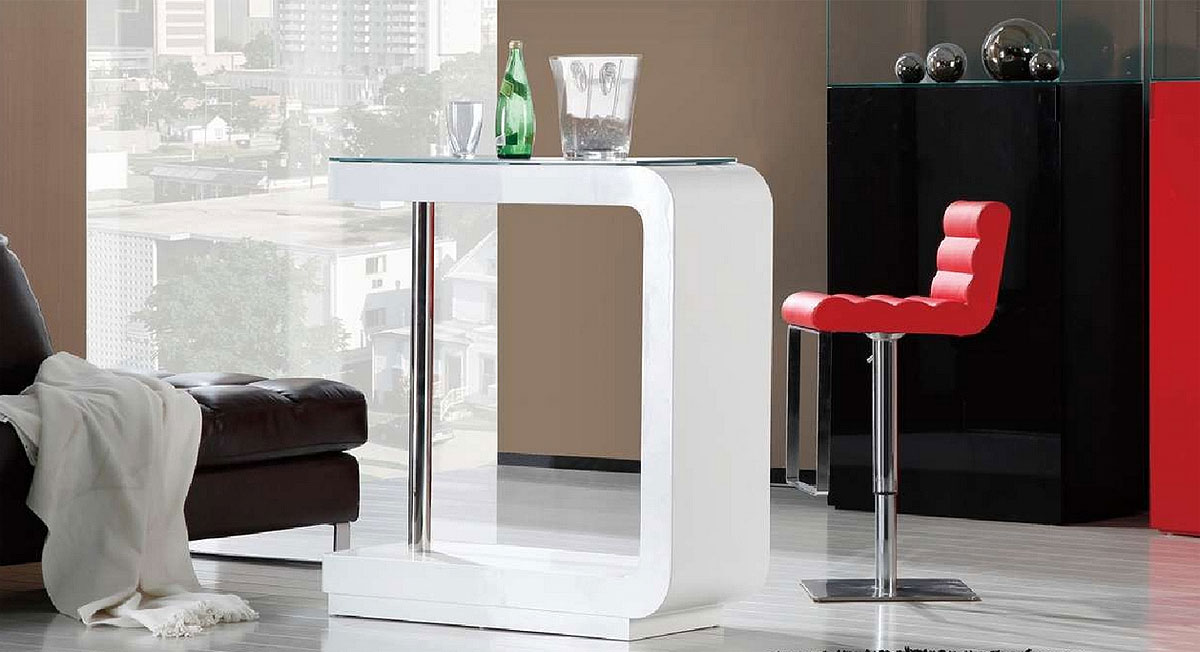 Gentil Simple And Modern White Bar Table For Hoemd Esign With Luxurious Couch And  Red Stool And