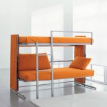 simple and stylish orange bunk bed for small space design with metal stairs and sofa and open plan