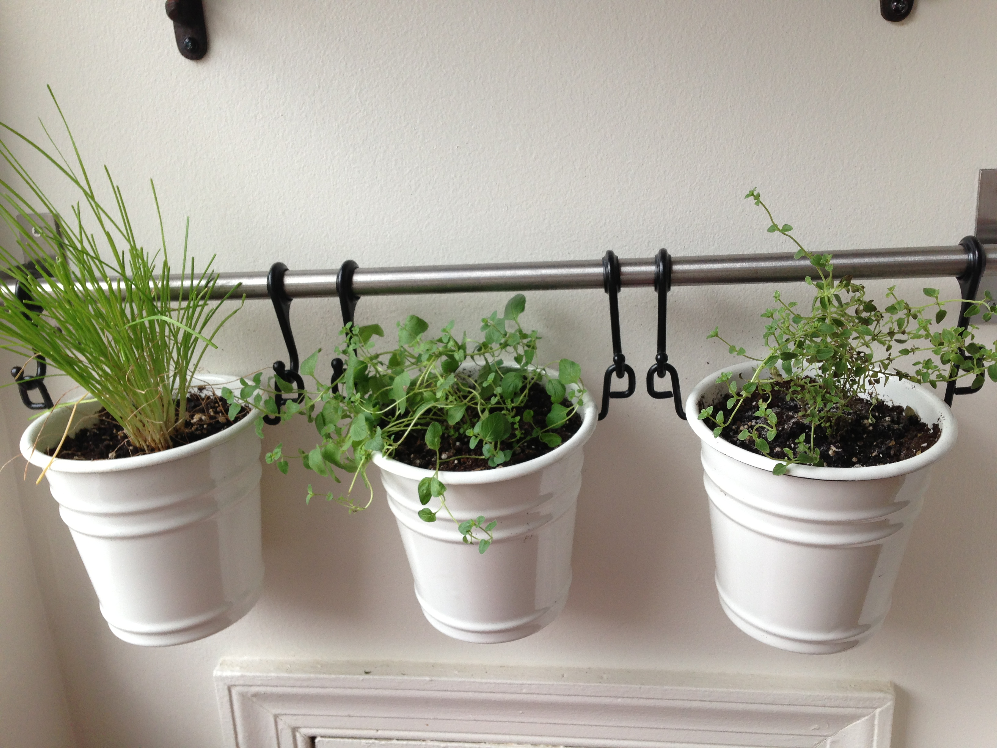Simple Apartment Herb Garden Design In The Interior With Vintage White Pots And Iron Pole Hanger