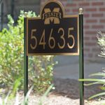 simple black gold black lawn signs house number and street name green front yard