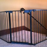 simple black metal baby gate for top stairs idea with fence on gray marble flooring style aside white wall with classic wooden molding idea