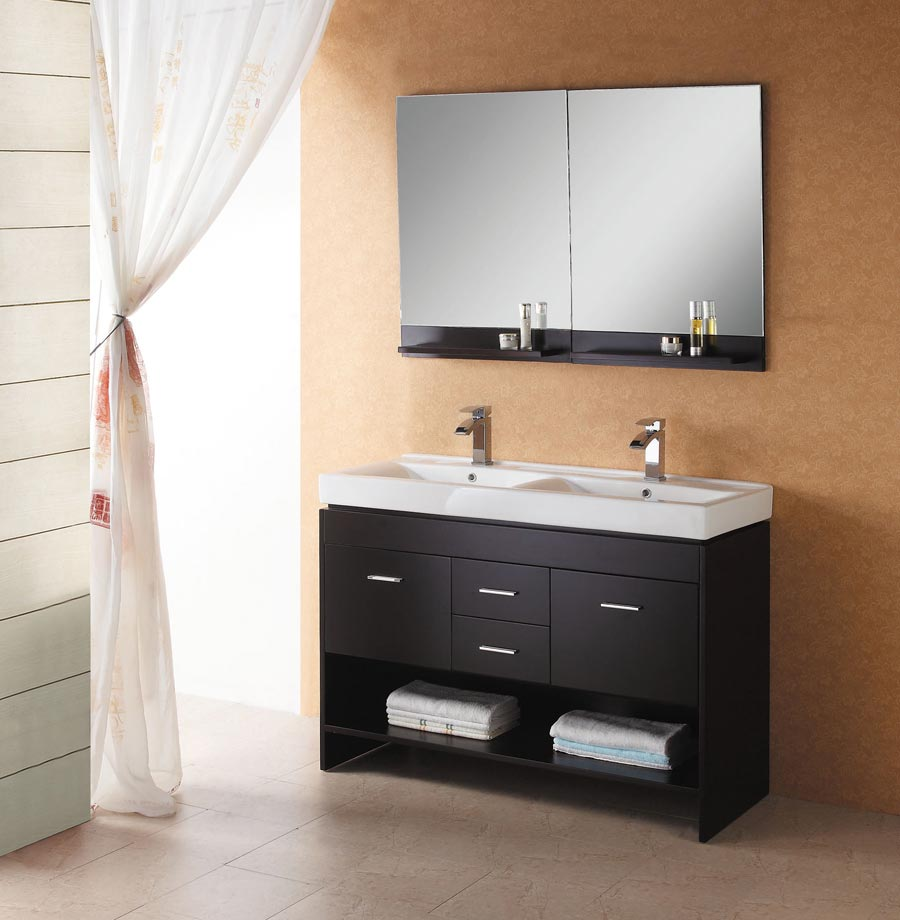 Simple Black Wooden Ikea Bath Cabinet Design With Double Sinks And Storage And Wall Mirror On