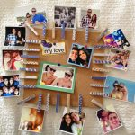 simple brown bulletin board or cool cork boards ideas with some photographs on white wall