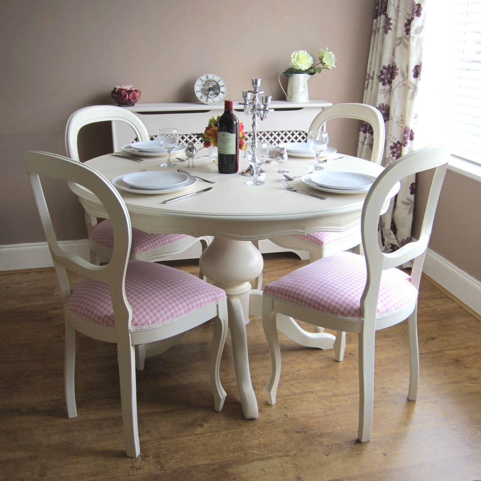 Simple Chic White Dining Room With Wooden Floor Pink Chairs And Round Kitchen