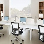 Simple Clean Modern Joont Office Room Black White Mid Back Office Chairs Long White Office Desks Natural Wooden Cabinets Natural Table Lamps Working Computers
