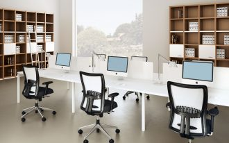 simple clean modern joont office room black white mid-back office chairs long white office desks natural wooden cabinets natural table lamps working computers