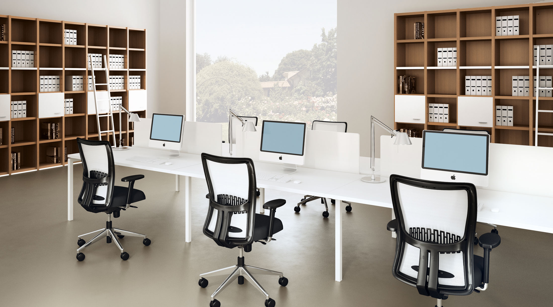 Simple Clean Modern Joont Office Room Black White Mid Back Office Chairs  Long White Office
