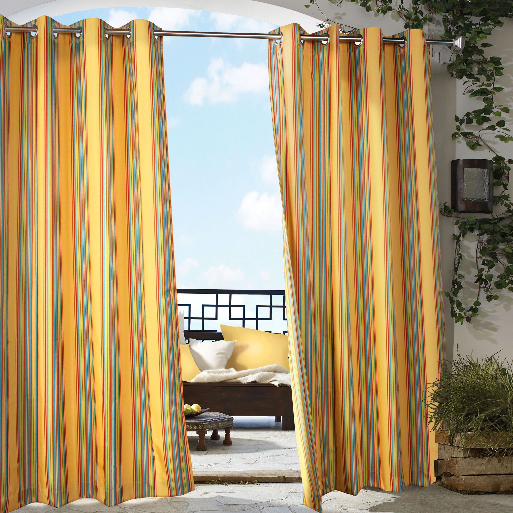 Outdoor curtains - Simple Indoor Outdoor Curtain In Yellow Striped Accent Plus Greenery And Decorated With Comfy Wooden Chair
